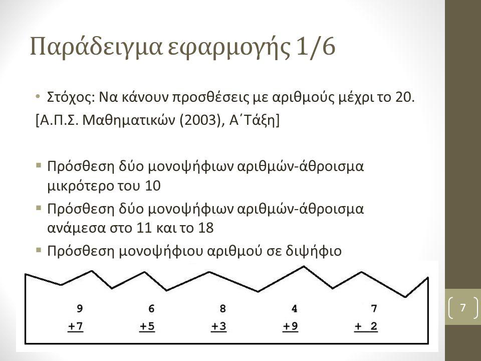 Παράδειγμα εφαρμογής 1/6 Στόχος: Να κάνουν προσθέσεις με αριθμούς μέχρι το 20.