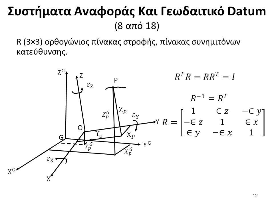 Συστήματα Αναφοράς Και Γεωδαιτικό Datum (8 από 18) R (3×3) ορθογώνιος πίνακας στροφής, πίνακας συνημιτόνων κατεύθυνσης.