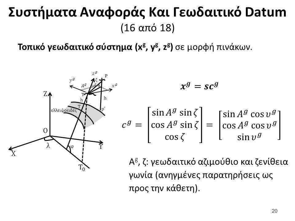Συστήματα Αναφοράς Και Γεωδαιτικό Datum (16 από 18) Τοπικό γεωδαιτικό σύστημα (x g, y g, z g ) σε μορφή πινάκων.