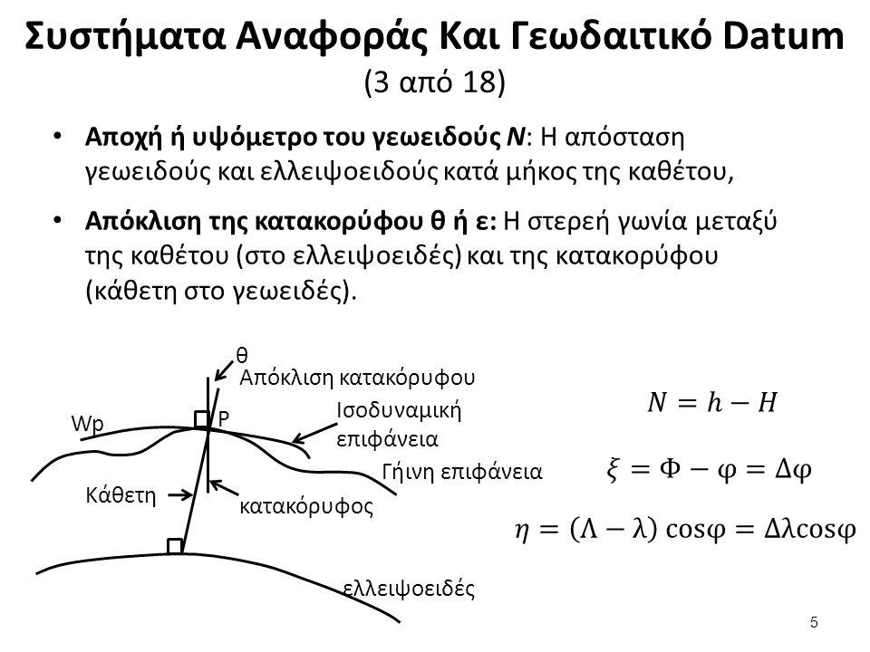 Συστήματα Αναφοράς Και Γεωδαιτικό Datum (3 από 18) Αποχή ή υψόμετρο του γεωειδούς Ν: Η απόσταση γεωειδούς και ελλειψοειδούς κατά μήκος της καθέτου, Απόκλιση της κατακορύφου θ ή ε: Η στερεή γωνία μεταξύ της καθέτου (στο ελλειψοειδές) και της κατακορύφου (κάθετη στο γεωειδές).
