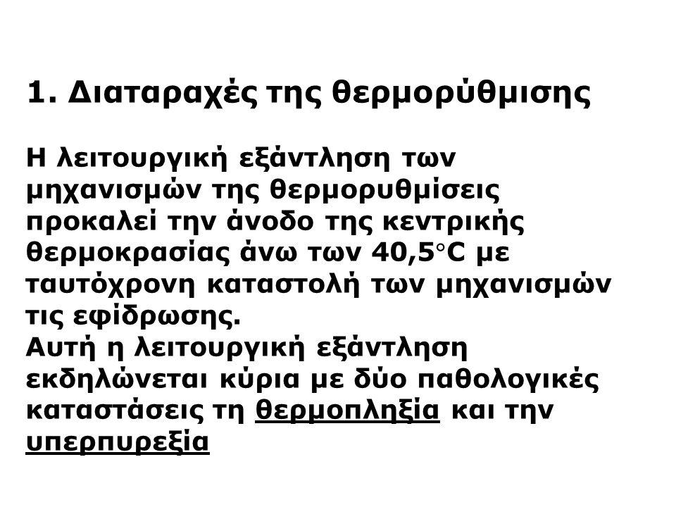 1. Διαταραχές της θερμορύθμισης Η λειτουργική εξάντληση των μηχανισμών της θερμορυθμίσεις προκαλεί την άνοδο της κεντρικής θερμοκρασίας άνω των 40,5C