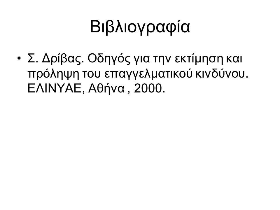 Bιβλιογραφία Σ. Δρίβας. Οδηγός για την εκτίμηση και πρόληψη του επαγγελματικού κινδύνου. ΕΛΙΝΥΑΕ, Αθήνα, 2000.