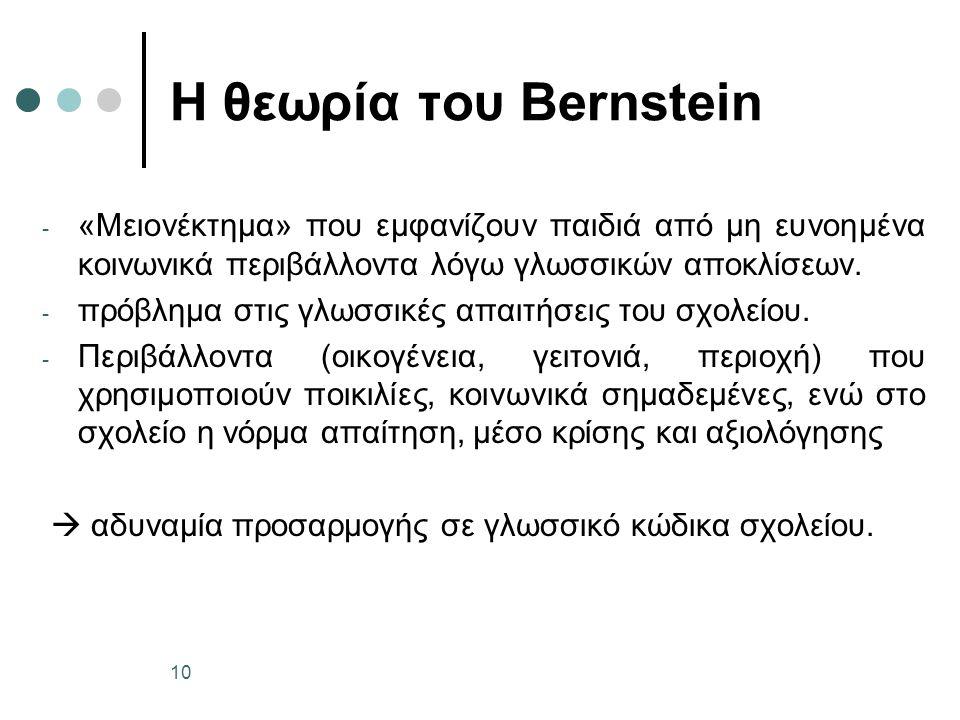 Η θεωρία του Bernstein - «Μειονέκτημα» που εμφανίζουν παιδιά από μη ευνοημένα κοινωνικά περιβάλλοντα λόγω γλωσσικών αποκλίσεων.