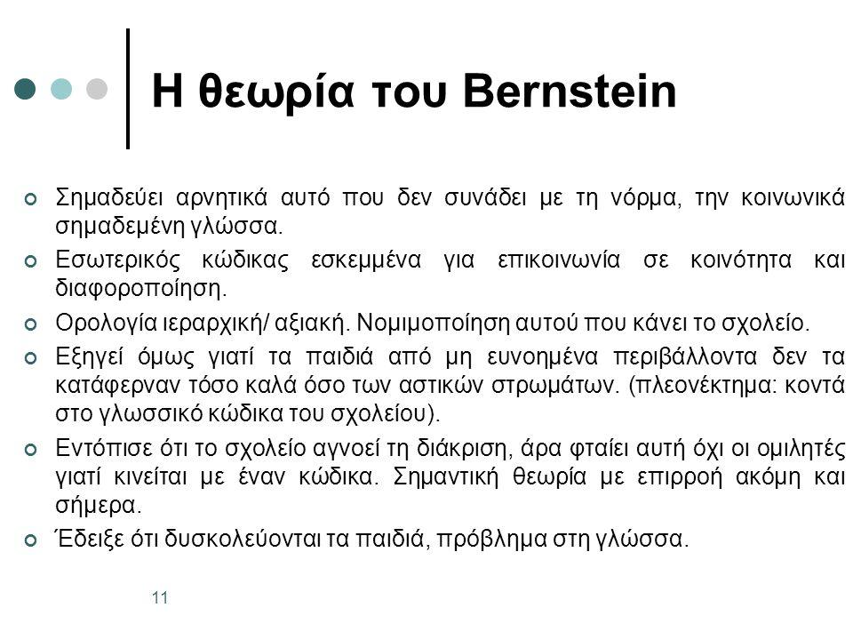 Η θεωρία του Bernstein Σημαδεύει αρνητικά αυτό που δεν συνάδει με τη νόρμα, την κοινωνικά σημαδεμένη γλώσσα.