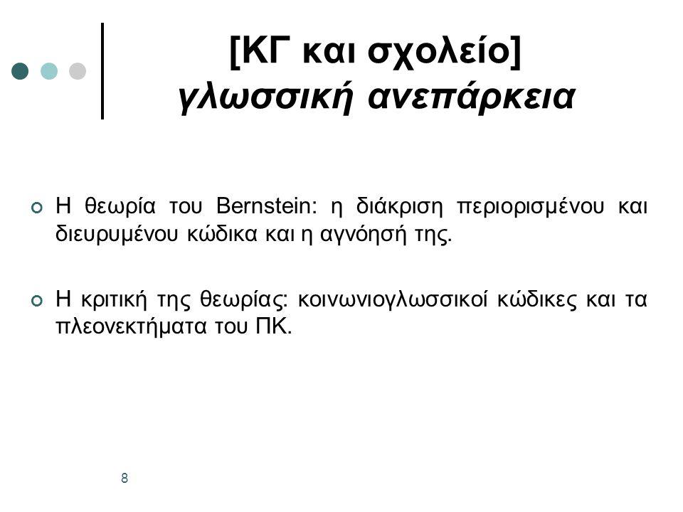 [ΚΓ και σχολείο] γλωσσική ανεπάρκεια Η θεωρία του Bernstein: η διάκριση περιορισμένου και διευρυμένου κώδικα και η αγνόησή της.