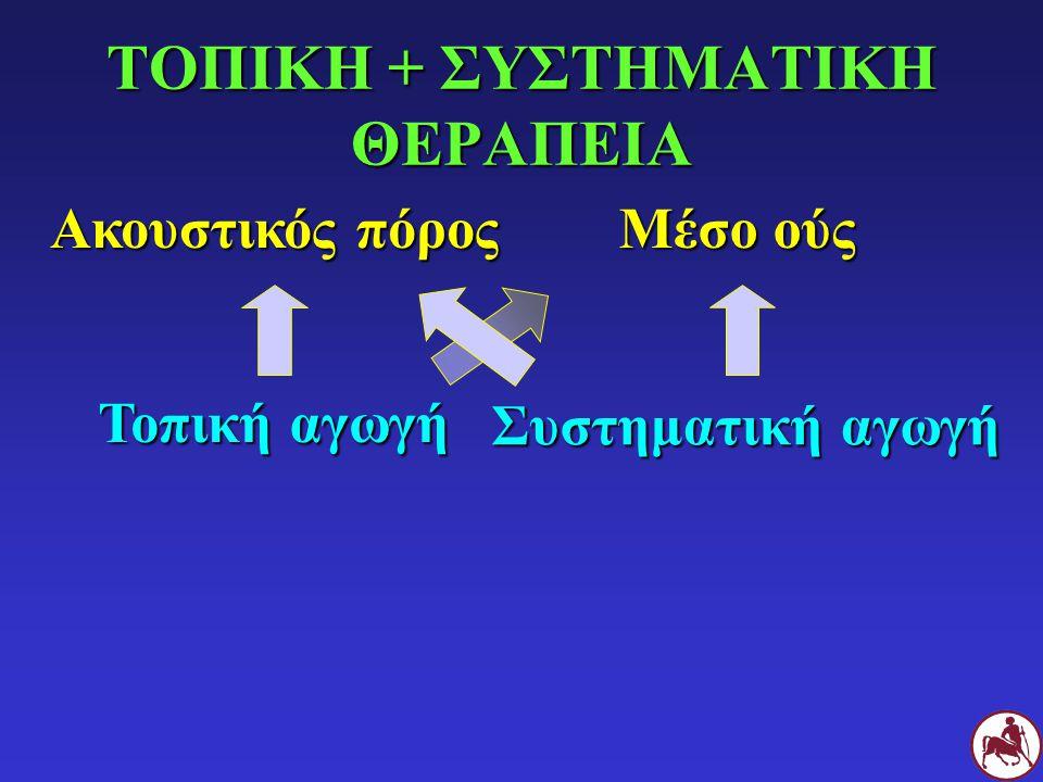 ΤΟΠΙΚΗ + ΣΥΣΤΗΜΑΤΙΚΗ ΘΕΡΑΠΕΙΑ Ερεθιστικά για το μέσο ούς (κυψελιδολυτικά, αντιβιοτικά) Ωτοτοξικά (κυψελιδολυτικά, αμινογλυκοσίδες, χλωρεξιδίνη>0,2%, ιωδιούχος ποβιδόνη, οξικό οξύ>5%) Αλοιφές Ακουστικός πόρος Μέσο ούς Τοπική αγωγή Συστηματική αγωγή