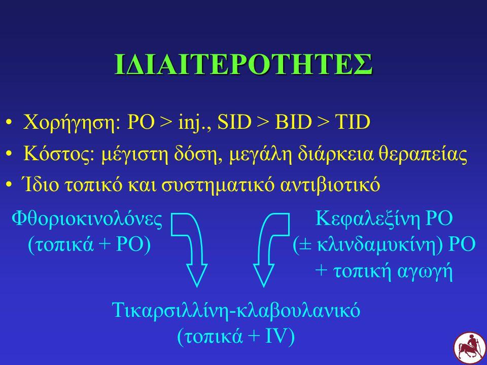 ΙΔΙΑΙΤΕΡΟΤΗΤΕΣ Χορήγηση: PO > inj., SID > BID > TID Κόστος: μέγιστη δόση, μεγάλη διάρκεια θεραπείας Ίδιο τοπικό και συστηματικό αντιβιοτικό Φθοριοκινο