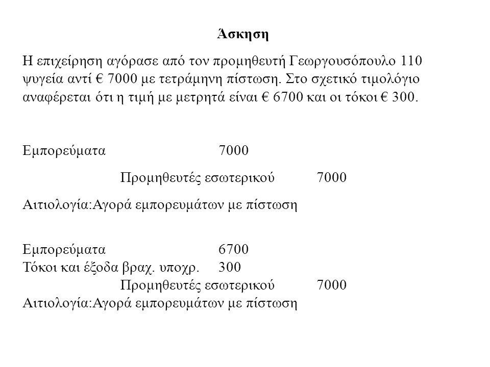 Άσκηση Η επιχείρηση αγόρασε από τον προμηθευτή Γεωργουσόπουλο 110 ψυγεία αντί € 7000 με τετράμηνη πίστωση. Στο σχετικό τιμολόγιο αναφέρεται ότι η τιμή
