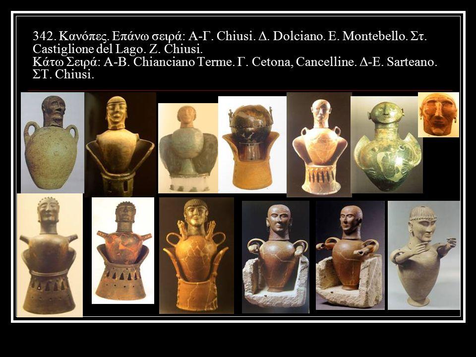 342.Κανόπες. Επάνω σειρά: Α-Γ. Chiusi. Δ. Dolciano.