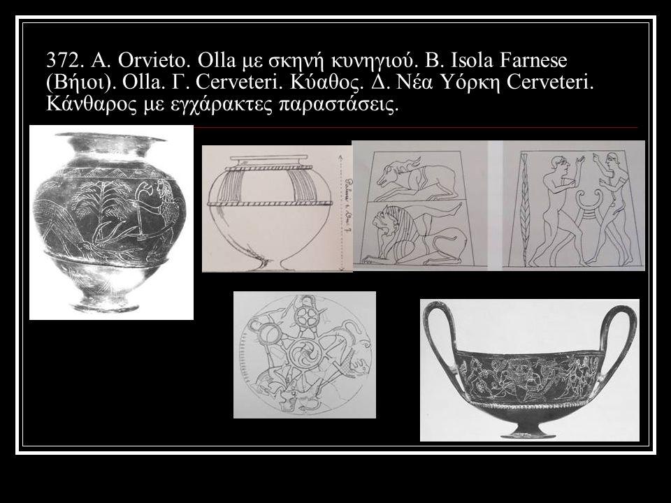 372.Α. Orvieto. Olla με σκηνή κυνηγιού. Β. Isola Farnese (Βήιοι).