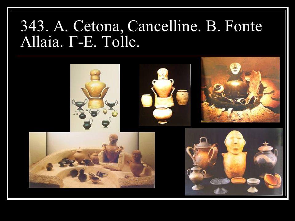 343. A. Cetona, Cancelline. B. Fonte Allaia. Γ-Ε. Tolle.