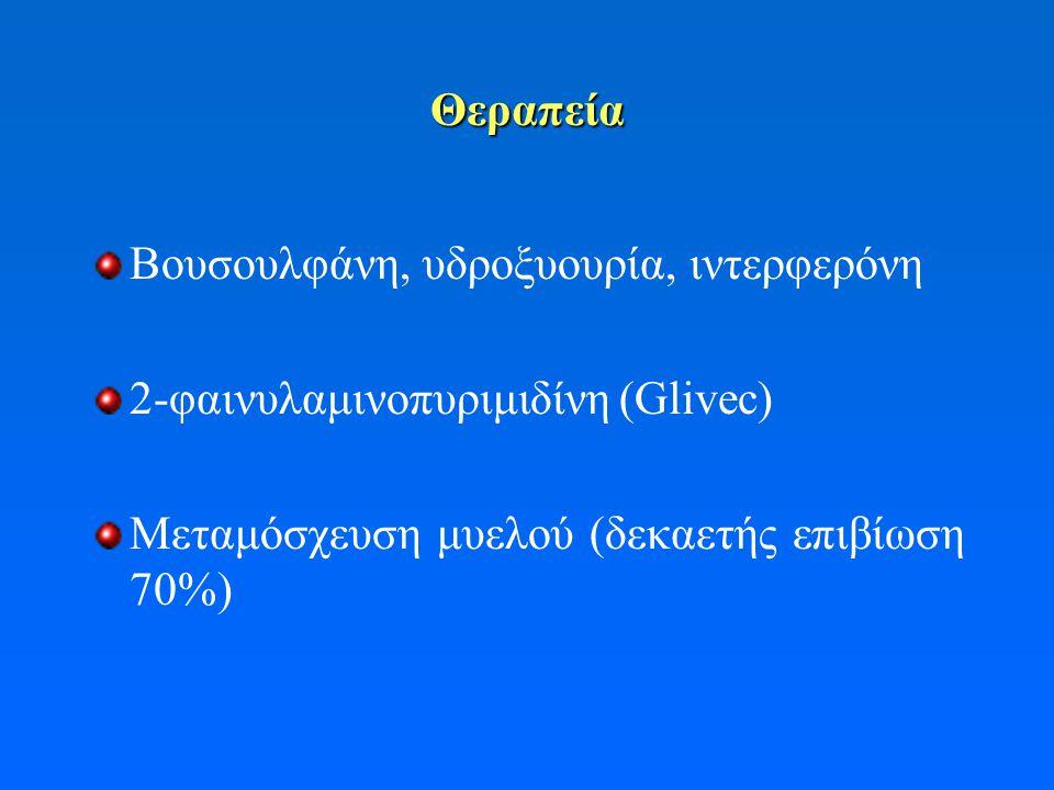 Θεραπεία Βουσουλφάνη, υδροξυουρία, ιντερφερόνη 2-φαινυλαμινοπυριμιδίνη (Glivec) Μεταμόσχευση μυελού (δεκαετής επιβίωση 70%)