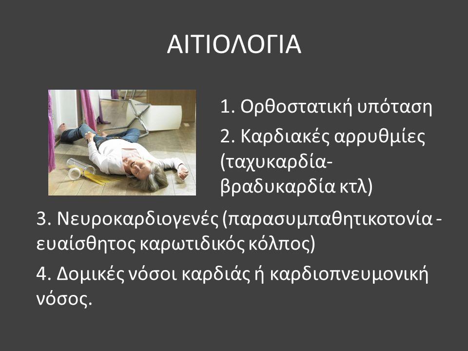 ΑΙΤΙΟΛΟΓΙΑ 3. Νευροκαρδιογενές (παρασυμπαθητικοτονία - ευαίσθητος καρωτιδικός κόλπος) 4. Δομικές νόσοι καρδιάς ή καρδιοπνευμονική νόσος. 1. Ορθοστατικ
