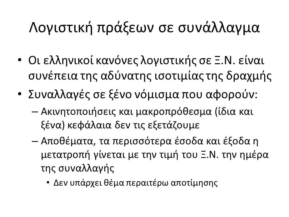 Λογιστική πράξεων σε συνάλλαγμα Οι ελληνικοί κανόνες λογιστικής σε Ξ.Ν.