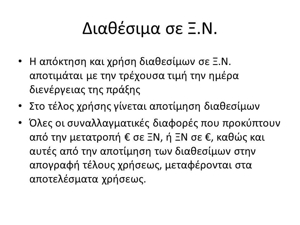 Διαθέσιμα σε Ξ.Ν. Η απόκτηση και χρήση διαθεσίμων σε Ξ.Ν.