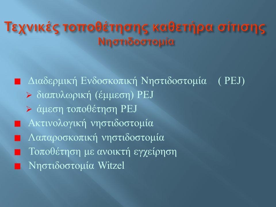 Αναρρόφηση Νέκρωση κοιλιακού τοιχώματος Απόφραξη καθετήρα Αποκόλληση στομάχου από το τοιχωματικό περιτόναιο Γαστρεντερική αιμορραγία ή αιμορραγία κοιλιακού τοιχώματος Μόλυνση στην έξοδο της στομίας Διάτρηση οργάνων Συρίγγια Πνευμοπεριτόναιο Διαρροή στομίας Μετατόπιση καθετήρα