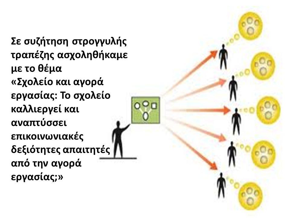 Σε συζήτηση στρογγυλής τραπέζης ασχοληθήκαμε με το θέμα «Σχολείο και αγορά εργασίας: Το σχολείο καλλιεργεί και αναπτύσσει επικοινωνιακές δεξιότητες απαιτητές από την αγορά εργασίας;»