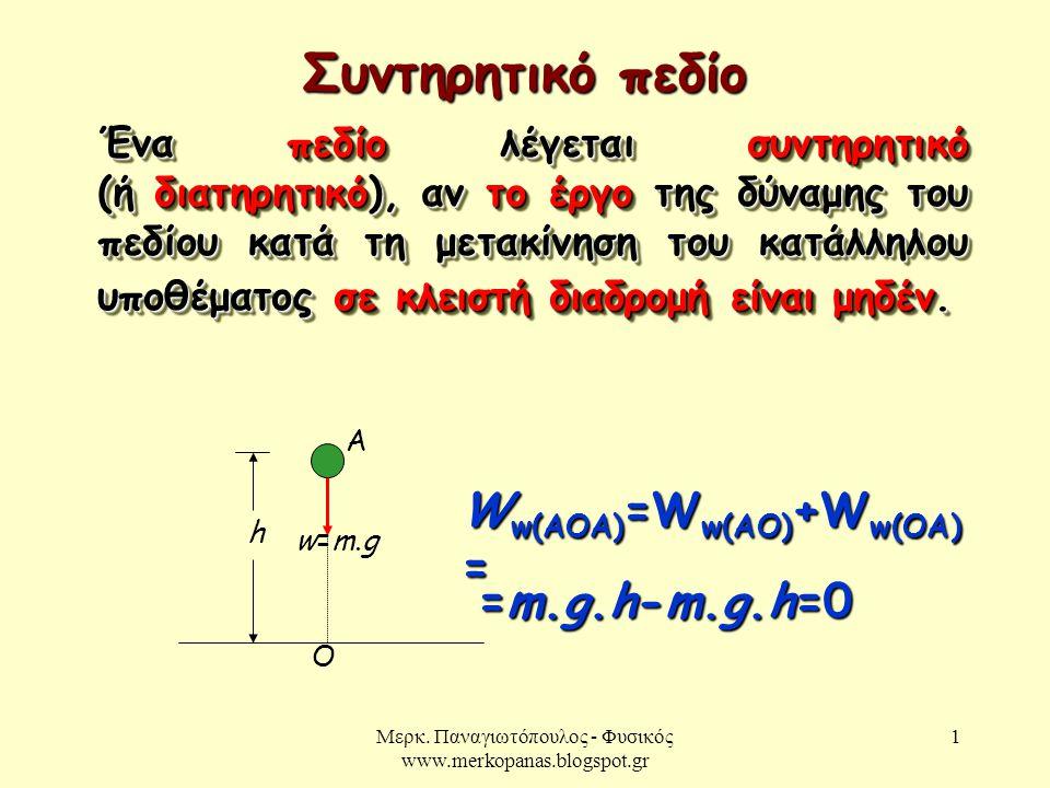 Μερκ. Παναγιωτόπουλος - Φυσικός www.merkopanas.blogspot.gr 1 Συντηρητικό πεδίο Ένα πεδίο λέγεται συντηρητικό (ή διατηρητικό), αν το έργο της δύναμης τ
