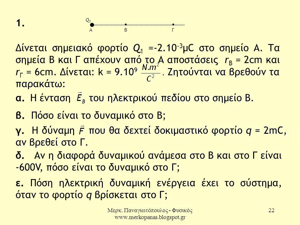 Μερκ. Παναγιωτόπουλος - Φυσικός www.merkopanas.blogspot.gr 22 του ηλεκτρικού πεδίου στο σημείο Β. α. Η ένταση του ηλεκτρικού πεδίου στο σημείο Β. β. Π