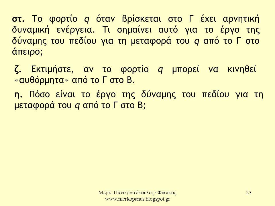 Μερκ. Παναγιωτόπουλος - Φυσικός www.merkopanas.blogspot.gr 23 στ. Το φορτίο q όταν βρίσκεται στο Γ έχει αρνητική δυναμική ενέργεια. Τι σημαίνει αυτό γ