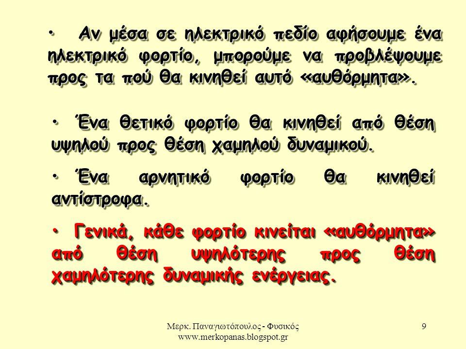 Μερκ. Παναγιωτόπουλος - Φυσικός www.merkopanas.blogspot.gr 9 Αν μέσα σε ηλεκτρικό πεδίο αφήσουμε ένα ηλεκτρικό φορτίο, μπορούμε να προβλέψουμε προς τα