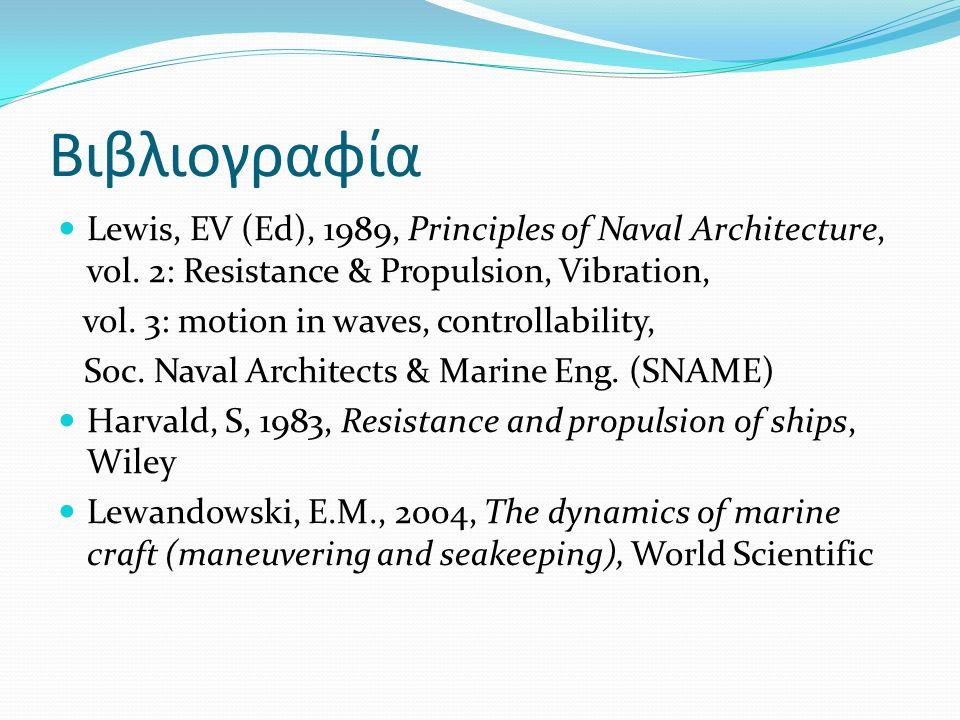Βιβλιογραφία Lewis, EV (Ed), 1989, Principles of Naval Architecture, vol.