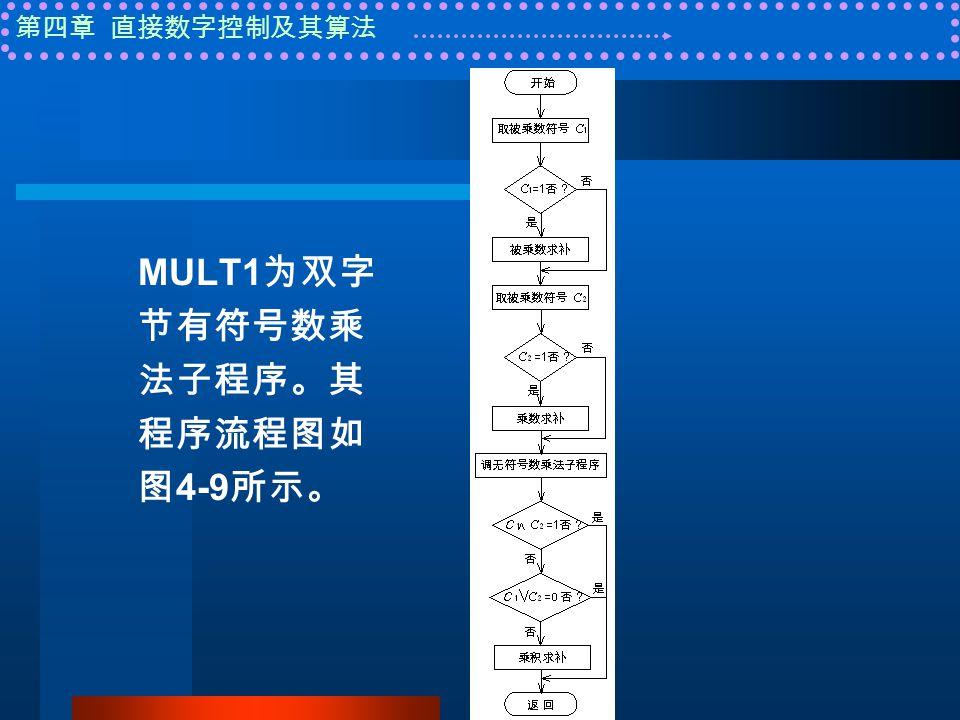 第四章 直接数字控制及其算法 MULT1 为双字 节有符号数乘 法子程序。其 程序流程图如 图 4-9 所示。