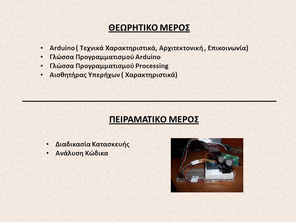 ΘΕΩΡΗΤΙΚΟ ΜΕΡΟΣ Arduino ( Τεχνικά Χαρακτηριστικά, Αρχιτεκτονική, Επικοινωνία) Γλώσσα Προγραμματισμού Αrduino Γλώσσα Προγραμματισμού Processing Αισθητή