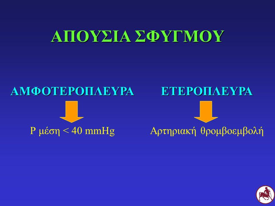 ΑΠΟΥΣΙΑ ΣΦΥΓΜΟΥ ΑΜΦΟΤΕΡΟΠΛΕΥΡΑ Ρ μέση < 40 mmHgΕΤΕΡΟΠΛΕΥΡΑ Αρτηριακή θρομβοεμβολή