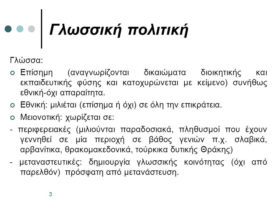 Γλωσσική πολιτική 3 Γλώσσα: Επίσημη (αναγνωρίζονται δικαιώματα διοικητικής και εκπαιδευτικής φύσης και κατοχυρώνεται με κείμενο) συνήθως εθνική-όχι απαραίτητα.