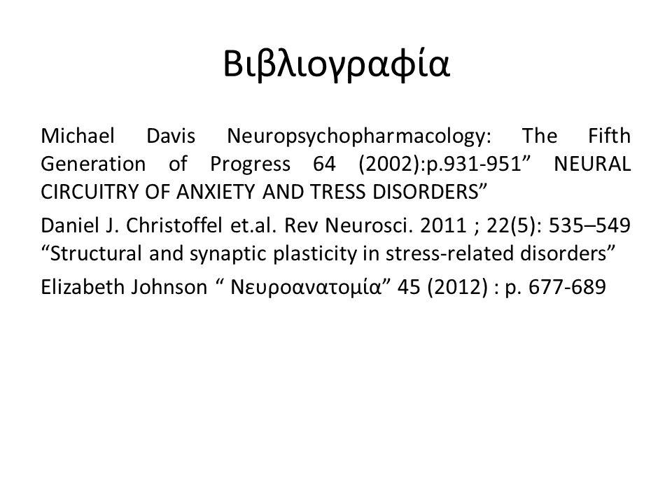Βιβλιογραφία Michael Davis Neuropsychopharmacology: The Fifth Generation of Progress 64 (2002):p.931-951 NEURAL CIRCUITRY OF ANXIETY AND TRESS DISORDERS Daniel J.