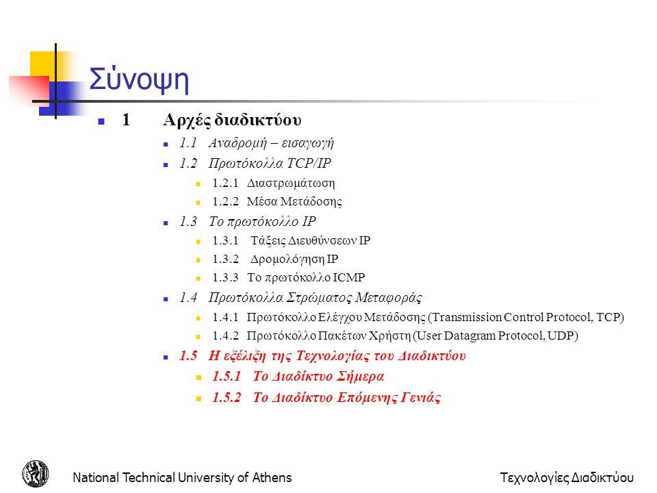 National Technical University of AthensΤεχνολογίες Διαδικτύου Σύνοψη 1Αρχές διαδικτύου 1.1 Αναδρομή – εισαγωγή 1.2 Πρωτόκολλα TCP/IP 1.2.1 Διαστρωμάτω