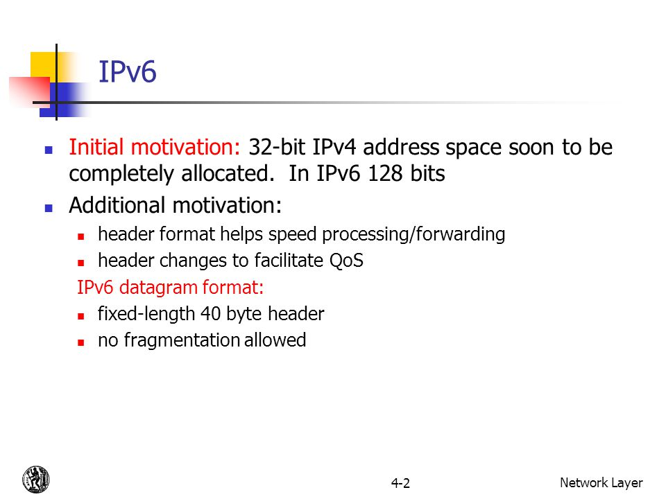 Network Layer4-2 IPv6 Initial motivation: 32-bit IPv4 address space soon to be completely allocated.