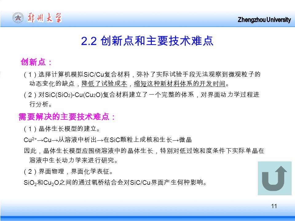 11 2.2 创新点和主要技术难点 创新点: ( 1 )选择计算机模拟 SiC/Cu 复合材料,弥补了实际试验手段无法观察到微观粒子的 动态变化的缺点,降低了试验成本,缩短这种新材料体系的开发时间。 ( 2 )对 SiC(SiO 2 )-Cu(Cu 2 O) 复合材料建立了一个完整的体系,对界面动力