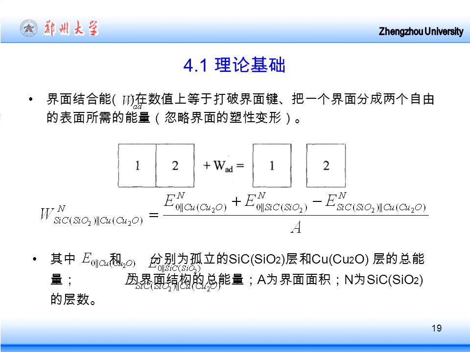 19 4.1 理论基础 界面结合能 ( ) 在数值上等于打破界面键、把一个界面分成两个自由 的表面所需的能量(忽略界面的塑性变形)。 其中 和 分别为孤立的 SiC(SiO 2 ) 层和 Cu(Cu 2 O) 层的总能 量; 为界面结构的总能量; A 为界面面积; N 为 SiC(SiO 2 ) 的