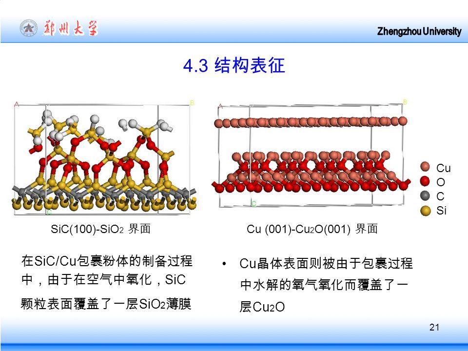 21 4.3 结构表征 在 SiC/Cu 包裹粉体的制备过程 中,由于在空气中氧化, SiC 颗粒表面覆盖了一层 SiO 2 薄膜 SiC(100)-SiO 2 界面 Cu 晶体表面则被由于包裹过程 中水解的氧气氧化而覆盖了一 层 Cu 2 O Cu (001)-Cu 2 O(001) 界面 Cu O C Si
