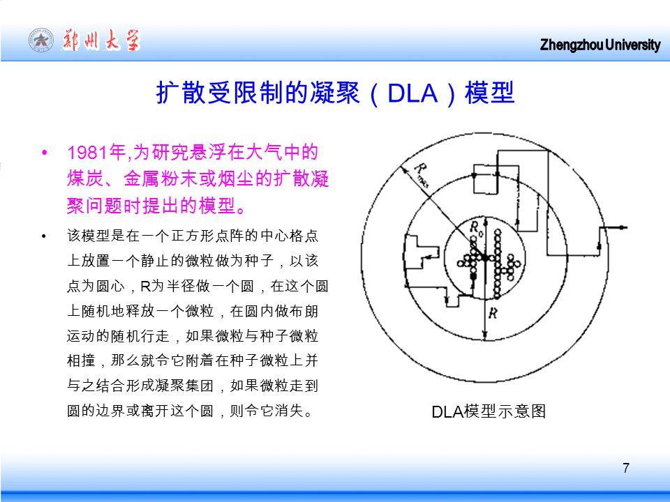7 扩散受限制的凝聚( DLA )模型 1981 年, 为研究悬浮在大气中的 煤炭、金属粉末或烟尘的扩散凝 聚问题时提出的模型。 该模型是在一个正方形点阵的中心格点 上放置一个静止的微粒做为种子,以该 点为圆心, R 为半径做一个圆,在这个圆 上随机地释放一个微粒,在圆内做布朗 运动的随机行走,如果微粒与种子微粒 相撞,那么就令它附着在种子微粒上并 与之结合形成凝聚集团,如果微粒走到 圆的边界或离开这个圆,则令它消失。 DLA 模型示意图