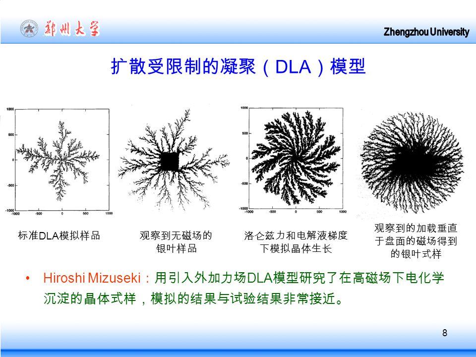 8 扩散受限制的凝聚( DLA )模型 Hiroshi Mizuseki :用引入外加力场 DLA 模型研究了在高磁场下电化学 沉淀的晶体式样,模拟的结果与试验结果非常接近。 标准 DLA 模拟样品观察到无磁场的 银叶样品 洛仑兹力和电解液梯度 下模拟晶体生长 观察到的加载垂直 于盘面的磁场得到 的银叶式样
