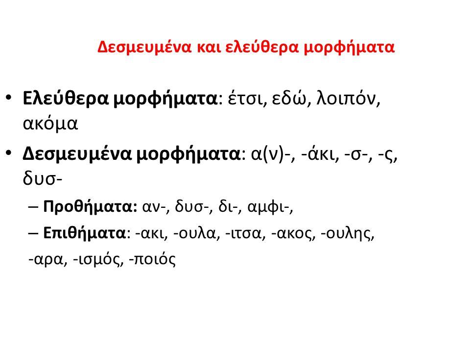 Δεσμευμένα και ελεύθερα μορφήματα Ελεύθερα μορφήματα: έτσι, εδώ, λοιπόν, ακόμα Δεσμευμένα μορφήματα: α(ν)-, -άκι, -σ-, -ς, δυσ- – Προθήματα: αν-, δυσ-, δι-, αμφι-, – Επιθήματα: -ακι, -ουλα, -ιτσα, -ακος, -ουλης, -αρα, -ισμός, -ποιός