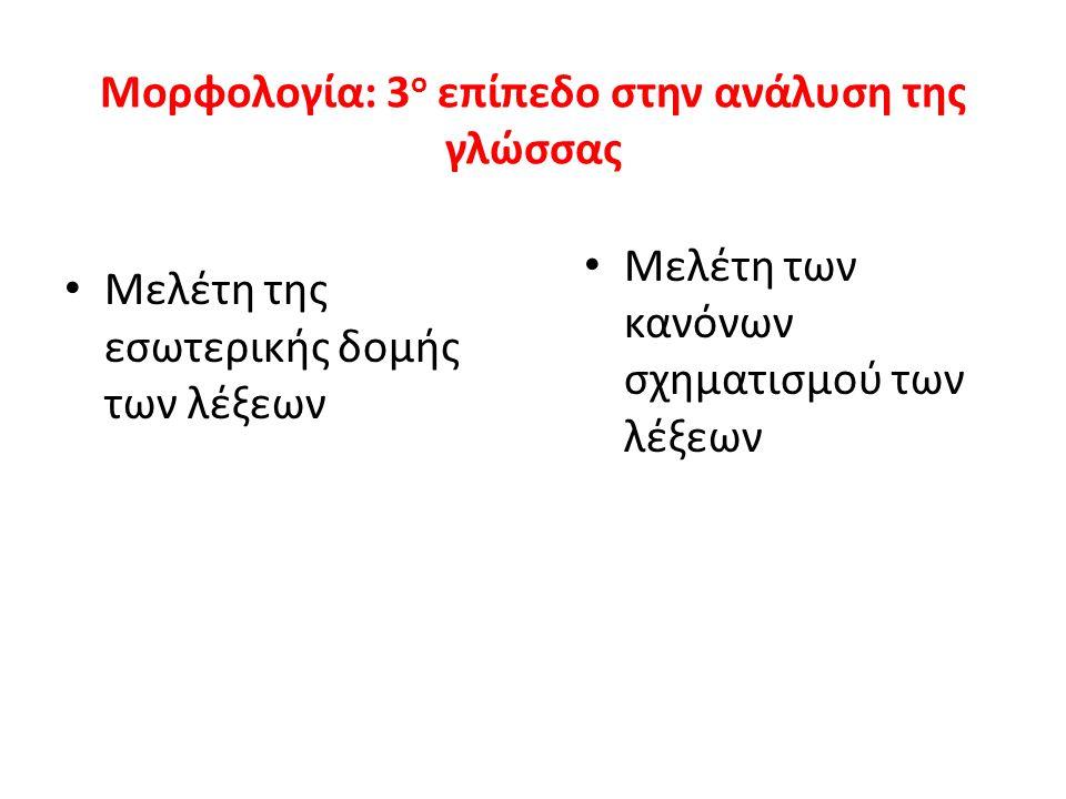 Μορφολογία: 3 ο επίπεδο στην ανάλυση της γλώσσας Μελέτη της εσωτερικής δομής των λέξεων Μελέτη των κανόνων σχηματισμού των λέξεων