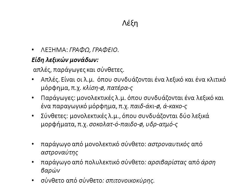 Λέξη ΛΕΞΗΜΑ: ΓΡΑΦΩ, ΓΡΑΦΕΙΟ.Είδη λεξικών μονάδων: απλές, παράγωγες και σύνθετες.