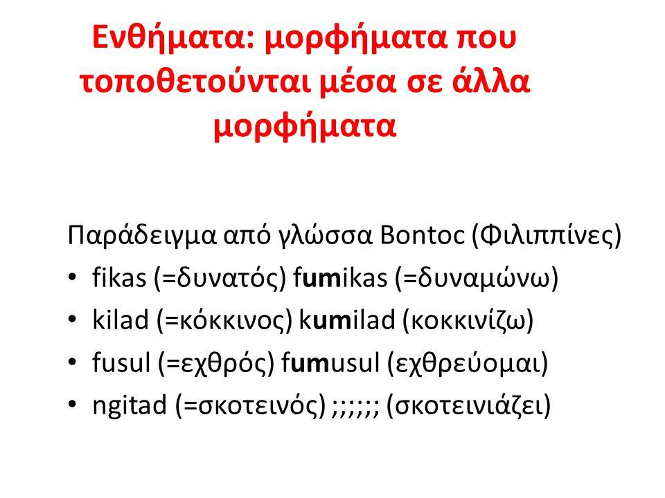 Ενθήματα: μορφήματα που τοποθετούνται μέσα σε άλλα μορφήματα Παράδειγμα από γλώσσα Bontoc (Φιλιππίνες) fikas (=δυνατός) fumikas (=δυναμώνω) kilad (=κόκκινος) kumilad (κοκκινίζω) fusul (=εχθρός) fumusul (εχθρεύομαι) ngitad (=σκοτεινός) ;;;;;; (σκοτεινιάζει)