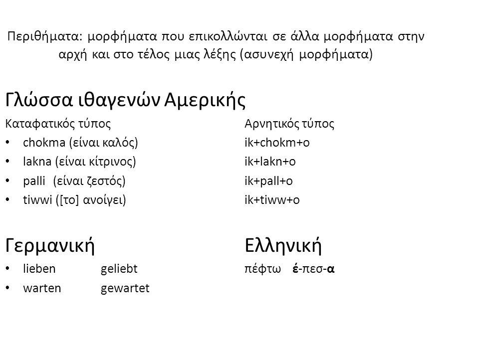 Περιθήματα: μορφήματα που επικολλώνται σε άλλα μορφήματα στην αρχή και στο τέλος μιας λέξης (ασυνεχή μορφήματα) Γλώσσα ιθαγενών Αμερικής Καταφατικός τύπος Αρνητικός τύπος chokma (είναι καλός)ik+chokm+o lakna (είναι κίτρινος)ik+lakn+o palli(είναι ζεστός)ik+pall+o tiwwi ([το] ανοίγει)ik+tiww+o ΓερμανικήΕλληνική liebengeliebtπέφτωέ-πεσ-α wartengewartet