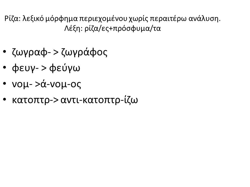 Ρίζα: λεξικό μόρφημα περιεχομένου χωρίς περαιτέρω ανάλυση.