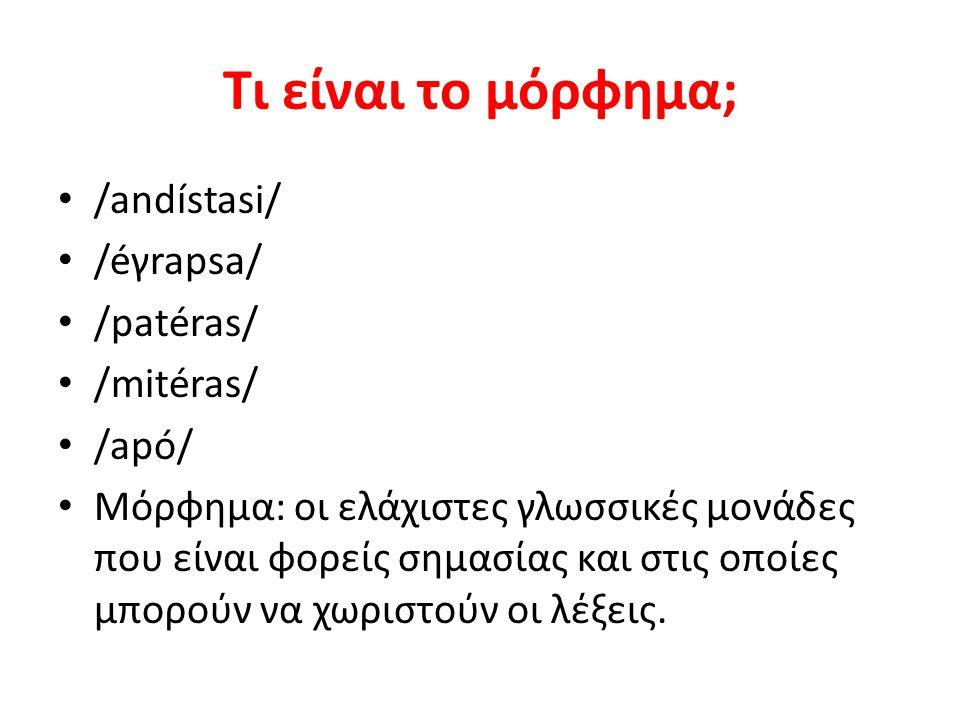 Τι είναι το μόρφημα; /andístasi/ /éγrapsa/ /patéras/ /mitéras/ /apó/ Μόρφημα: οι ελάχιστες γλωσσικές μονάδες που είναι φορείς σημασίας και στις οποίες μπορούν να χωριστούν οι λέξεις.