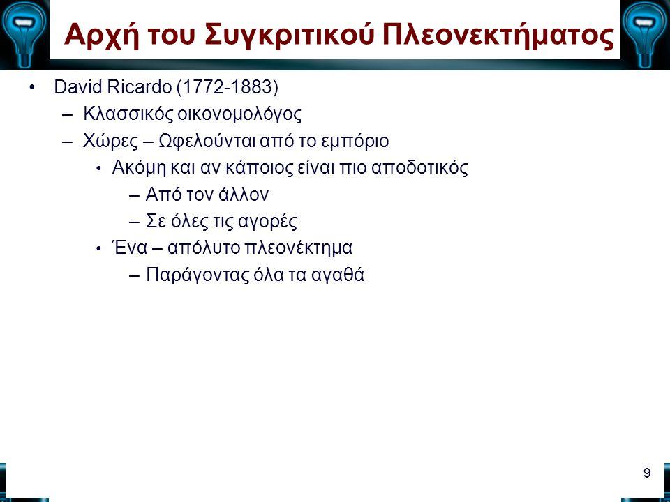 Αρχή του Συγκριτικού Πλεονεκτήματος David Ricardo (1772-1883) –Κλασσικός οικονομολόγος –Χώρες – Ωφελούνται από το εμπόριο Ακόμη και αν κάποιος είναι π