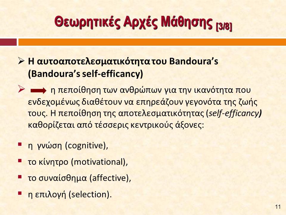 Θεωρητικές Αρχές Μάθησης [3/8]  Η αυτοαποτελεσματικότητα του Bandoura's (Bandoura's self-efficancy)  η πεποίθηση των ανθρώπων για την ικανότητα που