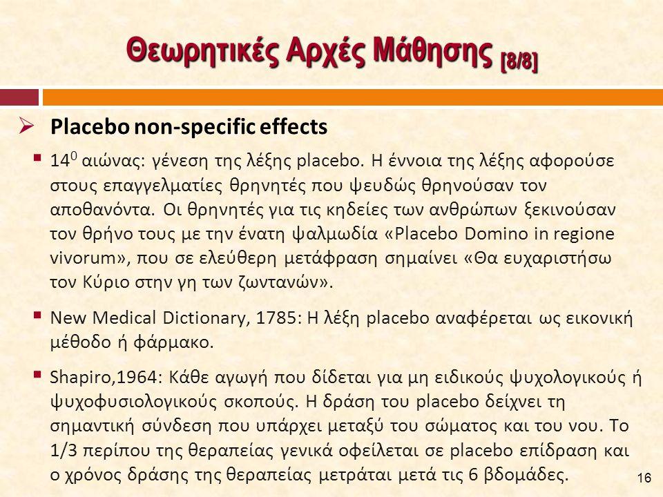 Θεωρητικές Αρχές Μάθησης [8/8]  14 0 αιώνας: γένεση της λέξης placebo. Η έννοια της λέξης αφορούσε στους επαγγελματίες θρηνητές που ψευδώς θρηνούσαν