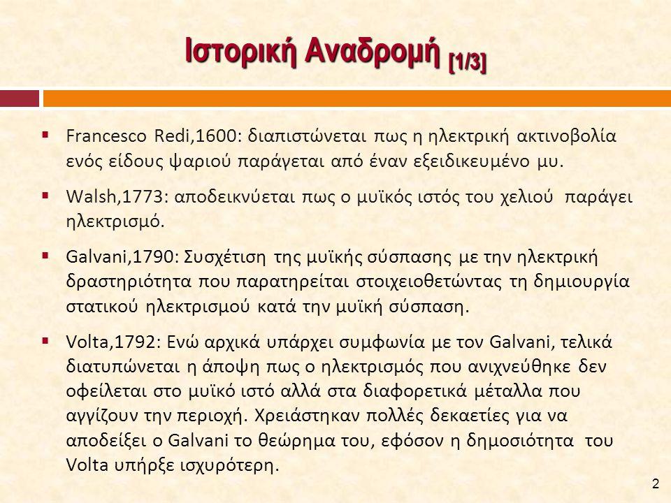 Ιστορική Αναδρομή [1/3]  Francesco Redi,1600: διαπιστώνεται πως η ηλεκτρική ακτινοβολία ενός είδους ψαριού παράγεται από έναν εξειδικευμένο μυ.  Wal