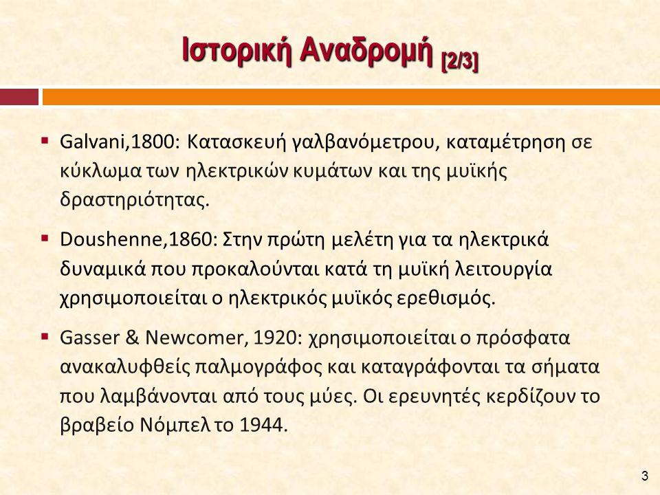 Ιστορική Αναδρομή [2/3]  Galvani,1800: Κατασκευή γαλβανόμετρου, καταμέτρηση σε κύκλωμα των ηλεκτρικών κυμάτων και της μυϊκής δραστηριότητας.  Doushe